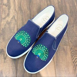 NWOT Jack Rogers Peacock Embroidered Slip On Shoes